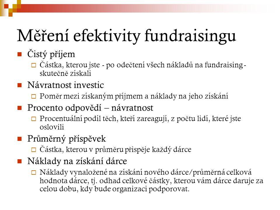 M ěř ení efektivity fundraisingu Č istý p ř íjem  Č ástka, kterou jste - po ode č tení všech náklad ů na fundraising - skute č n ě získali Návratnost