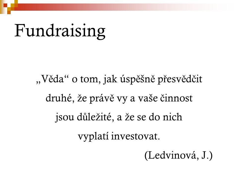 """Fundraising """"V ě da"""" o tom, jak úsp ě šn ě p ř esv ě d č it druhé, ž e práv ě vy a vaše č innost jsou d ů le ž ité, a ž e se do nich vyplatí investova"""