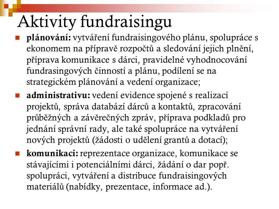 Aktivity fundraisingu plánování: vytvá ř ení fundraisingového plánu, spolupráce s ekonomem na p ř íprav ě rozpo č t ů a sledování jejich pln ě ní, p ř