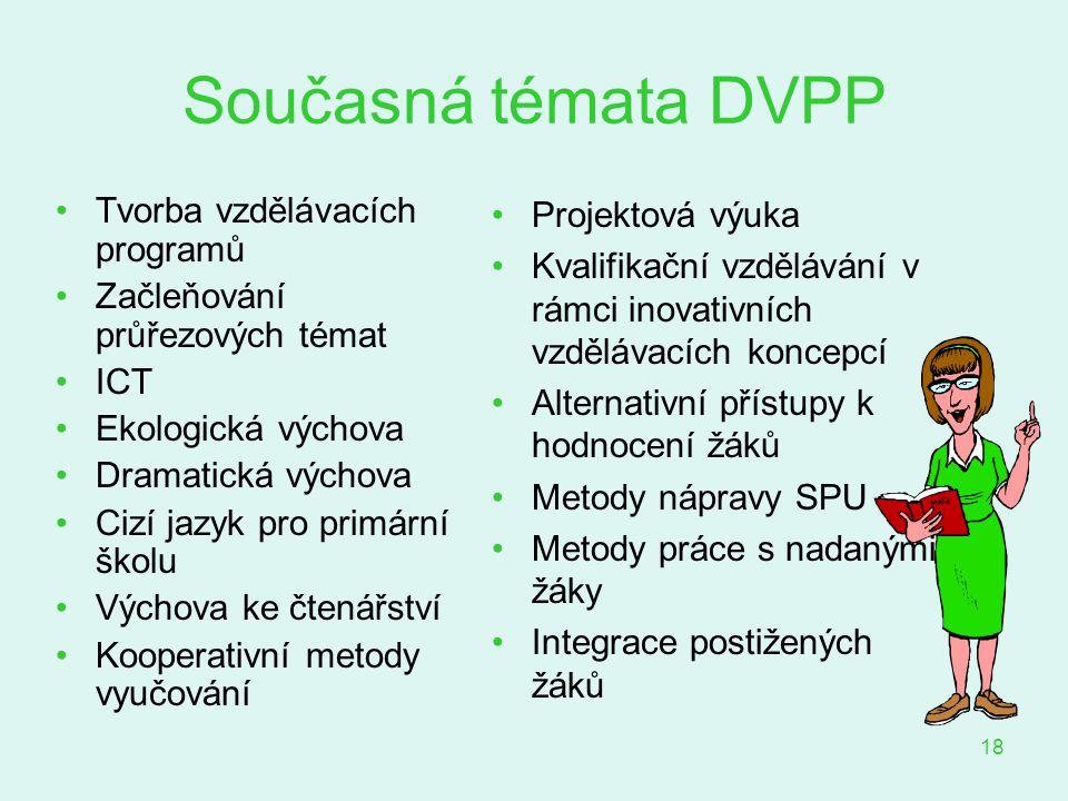 18 Současná témata DVPP Tvorba vzdělávacích programů Začleňování průřezových témat ICT Ekologická výchova Dramatická výchova Cizí jazyk pro primární š