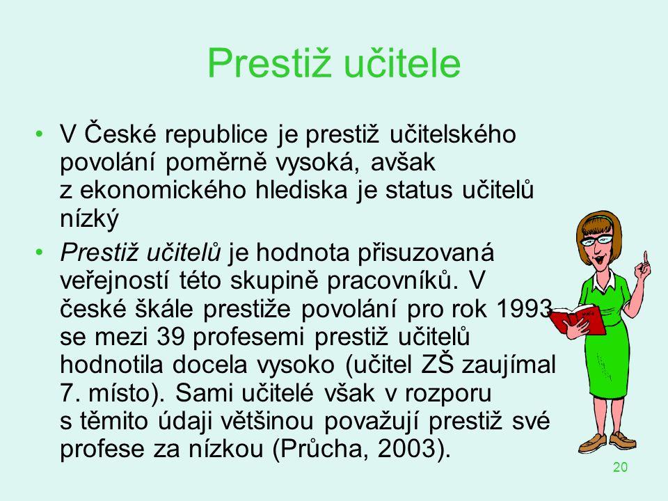 20 Prestiž učitele V České republice je prestiž učitelského povolání poměrně vysoká, avšak z ekonomického hlediska je status učitelů nízký Prestiž uči
