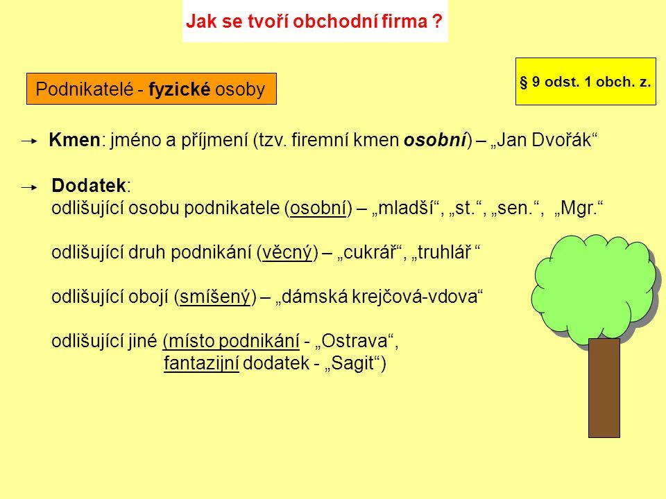 Podnikatelé - právnické osoby Kmen: název (tzv.