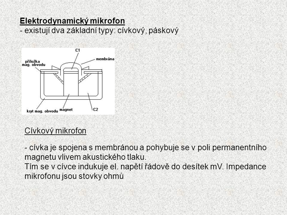 Elektrodynamický mikrofon - existují dva základní typy: cívkový, páskový Cívkový mikrofon - cívka je spojena s membránou a pohybuje se v poli permanentního magnetu vlivem akustického tlaku.