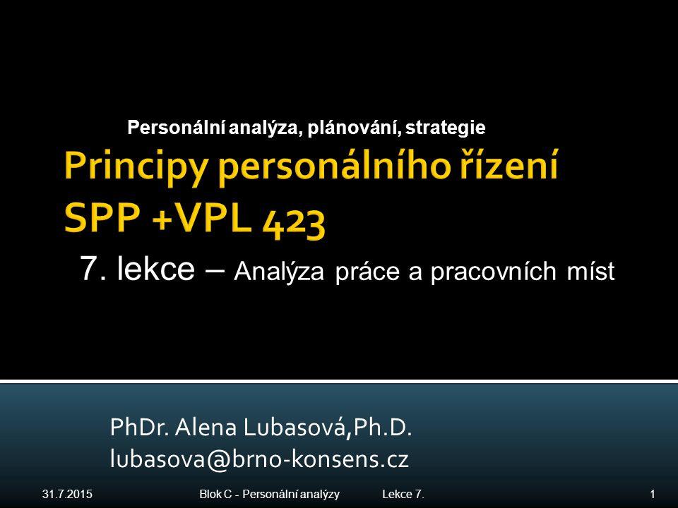 PhDr. Alena Lubasová,Ph.D. lubasova@brno-konsens.cz 31.7.2015 Blok C - Personální analýzy Lekce 7. 1 Personální analýza, plánování, strategie 7. lekce