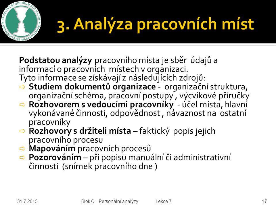 Podstatou analýzy pracovního místa je sběr údajů a informací o pracovních místech v organizaci.