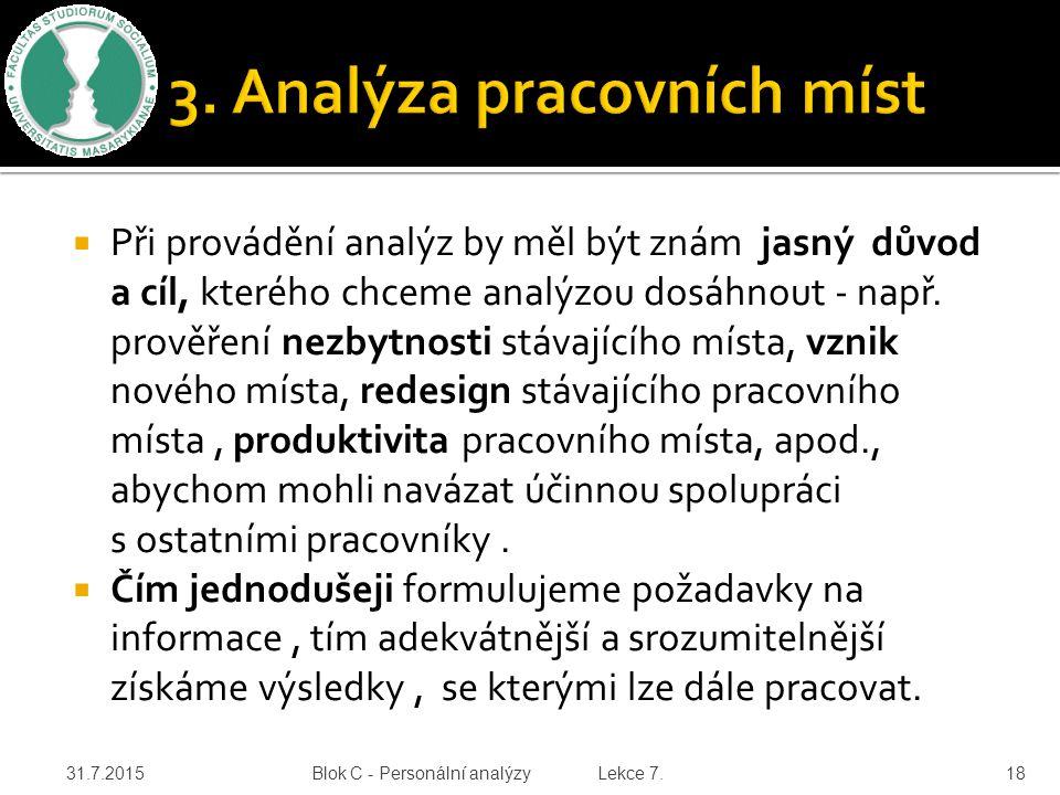  Při provádění analýz by měl být znám jasný důvod a cíl, kterého chceme analýzou dosáhnout - např. prověření nezbytnosti stávajícího místa, vznik nov