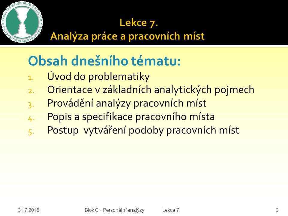 Obsah dnešního tématu: 1. Úvod do problematiky 2. Orientace v základních analytických pojmech 3. Provádění analýzy pracovních míst 4. Popis a specifik