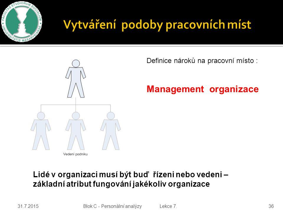 31.7.2015 Blok C - Personální analýzy Lekce 7. 36 Definice nároků na pracovní místo : Management organizace Lidé v organizaci musí být buď řízeni nebo