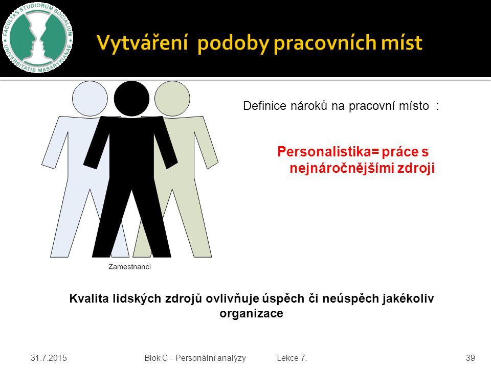 31.7.2015 Blok C - Personální analýzy Lekce 7. 39 Definice nároků na pracovní místo : Personalistika= práce s nejnáročnějšími zdroji Kvalita lidských