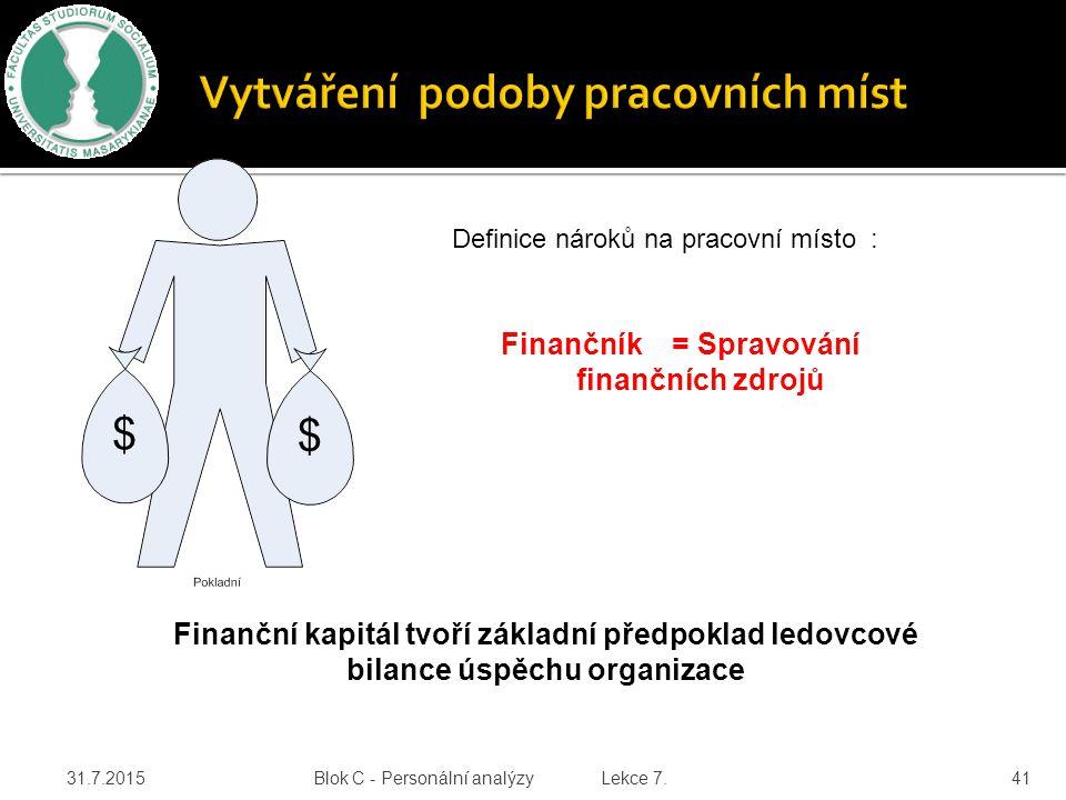31.7.2015 Blok C - Personální analýzy Lekce 7. 41 Definice nároků na pracovní místo : Finančník = Spravování finančních zdrojů Finanční kapitál tvoří