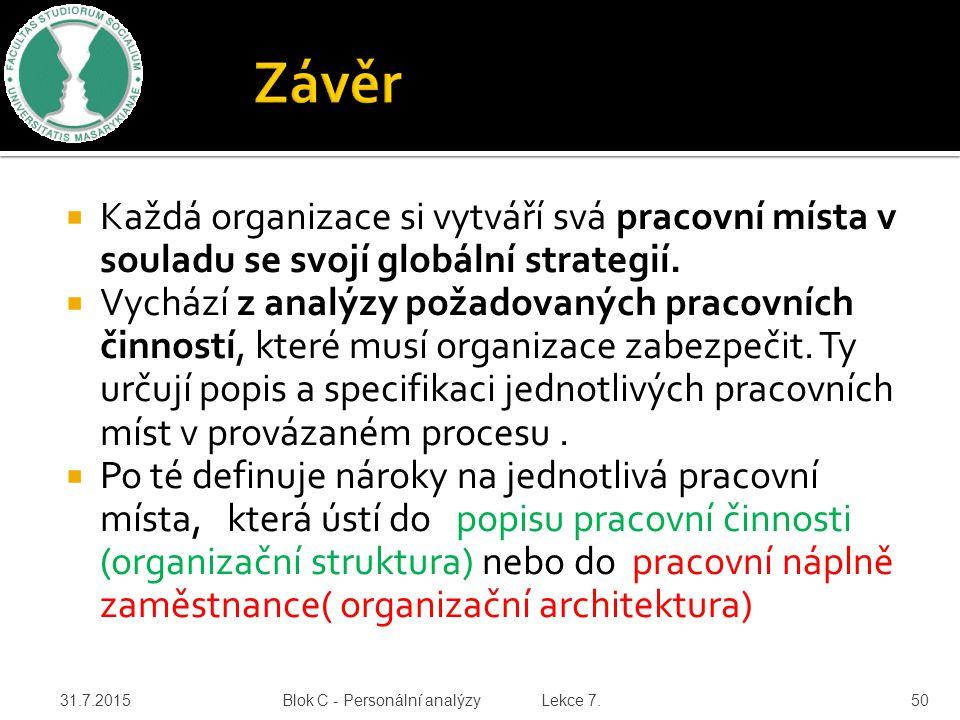  Každá organizace si vytváří svá pracovní místa v souladu se svojí globální strategií.  Vychází z analýzy požadovaných pracovních činností, které mu