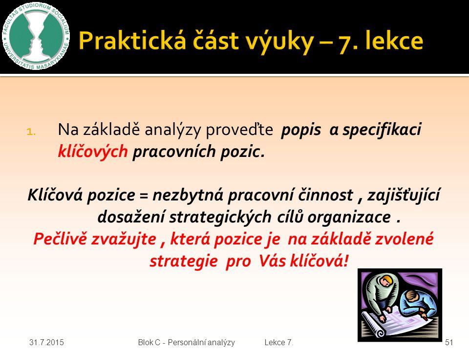1.Na základě analýzy proveďte popis a specifikaci klíčových pracovních pozic.