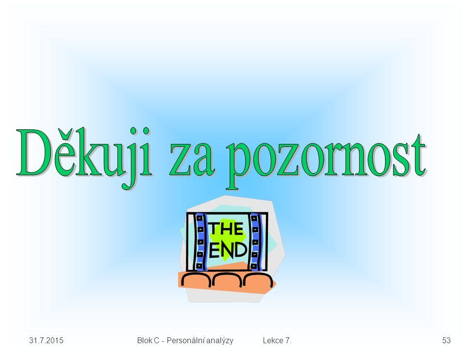 31.7.2015 Blok C - Personální analýzy Lekce 7. 53