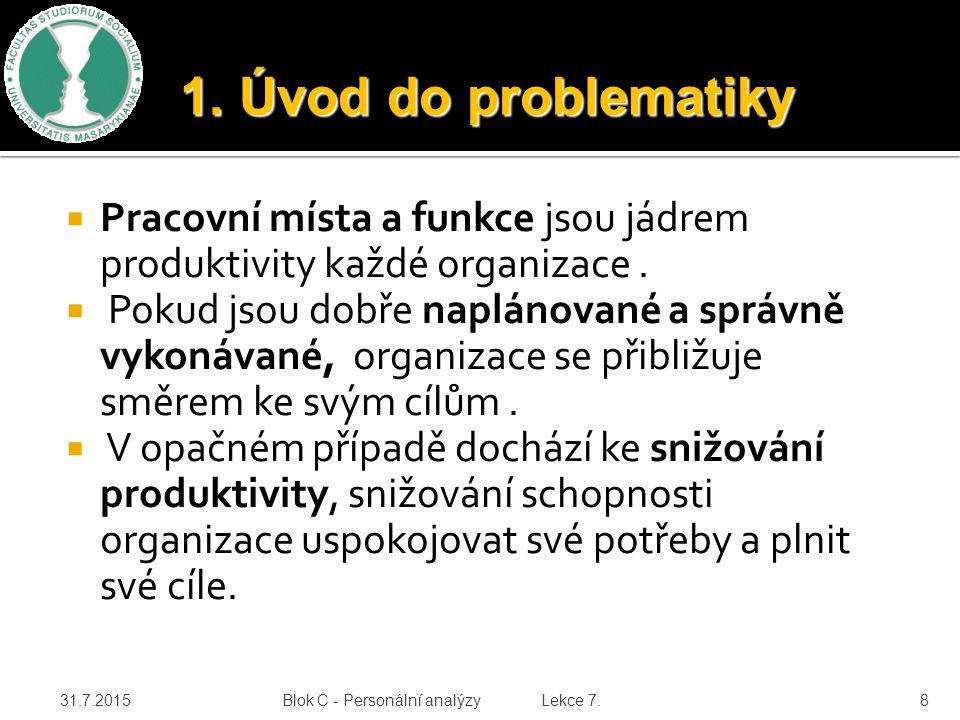  Pracovní místa a funkce jsou jádrem produktivity každé organizace.