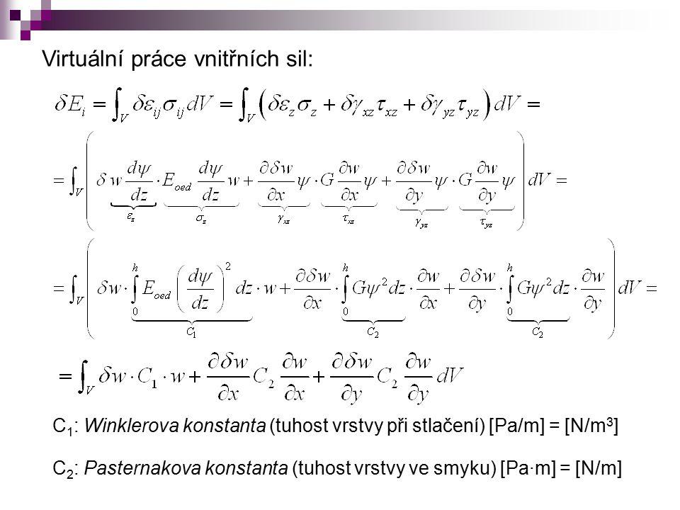 Virtuální práce vnitřních sil: C 1 : Winklerova konstanta (tuhost vrstvy při stlačení) [Pa/m] = [N/m 3 ] C 2 : Pasternakova konstanta (tuhost vrstvy ve smyku) [Pa · m] = [N/m]