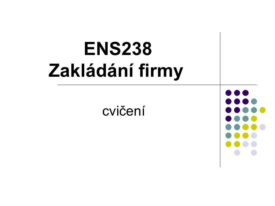 ENS238 Zakládání firmy cvičení