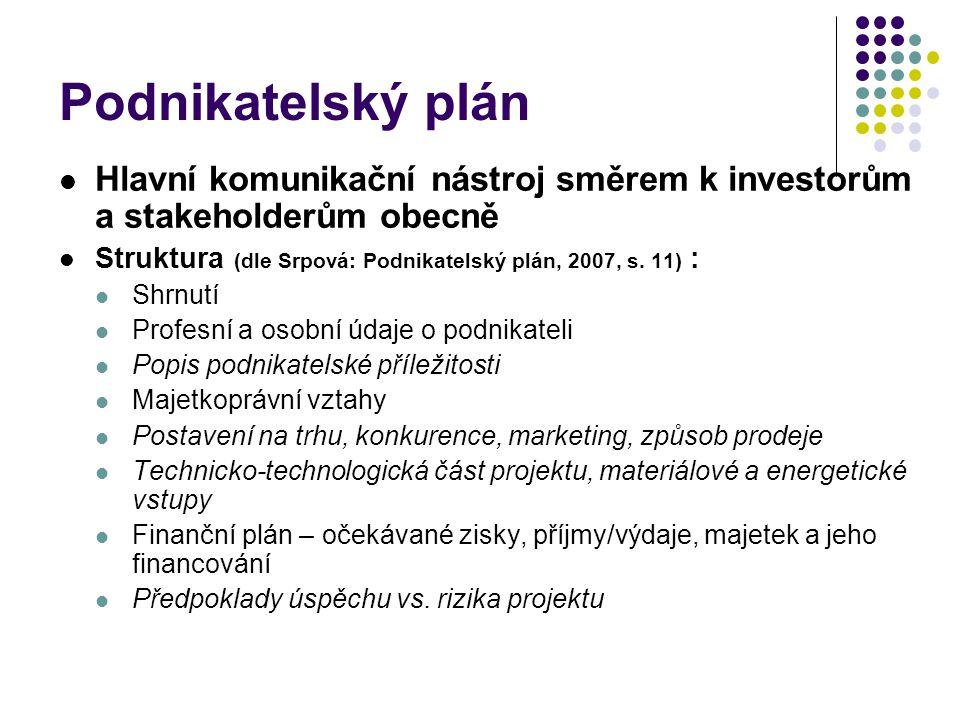 Podnikatelský plán Hlavní komunikační nástroj směrem k investorům a stakeholderům obecně Struktura (dle Srpová: Podnikatelský plán, 2007, s. 11) : Shr