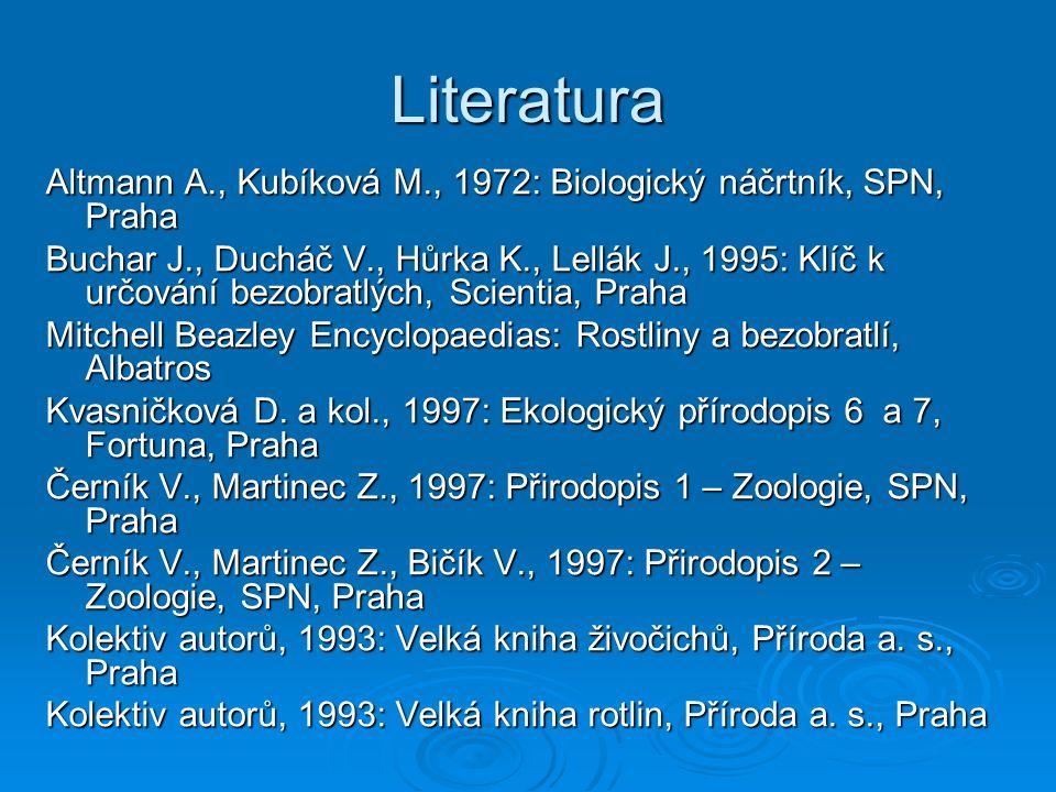 Literatura Altmann A., Kubíková M., 1972: Biologický náčrtník, SPN, Praha Buchar J., Ducháč V., Hůrka K., Lellák J., 1995: Klíč k určování bezobratlýc