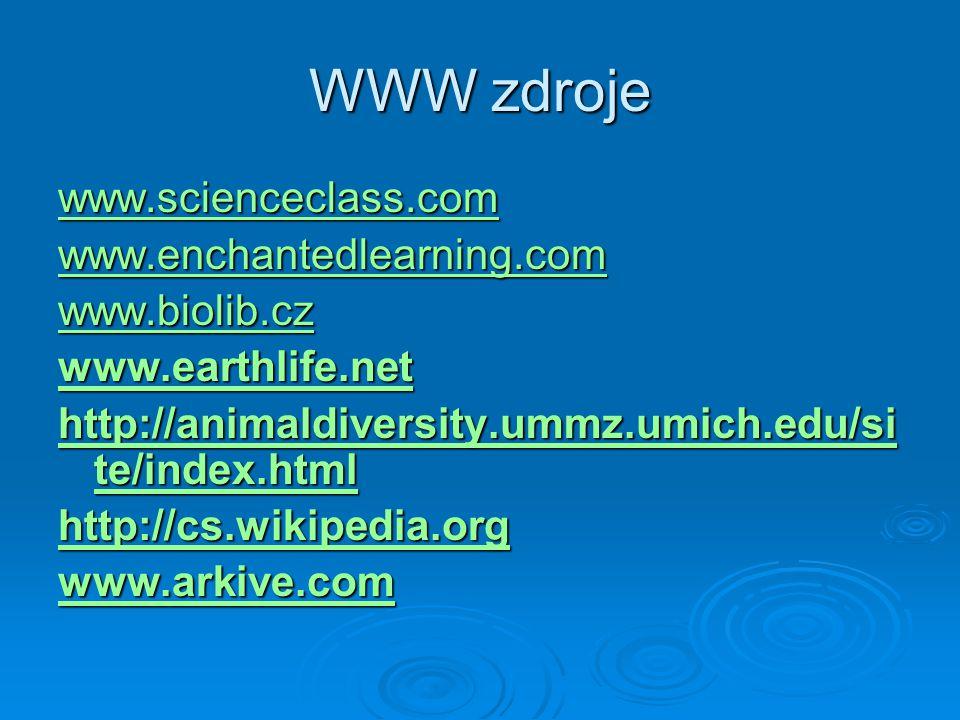 WWW zdroje www.scienceclass.com www.enchantedlearning.com www.biolib.cz www.earthlife.net http://animaldiversity.ummz.umich.edu/si te/index.html http: