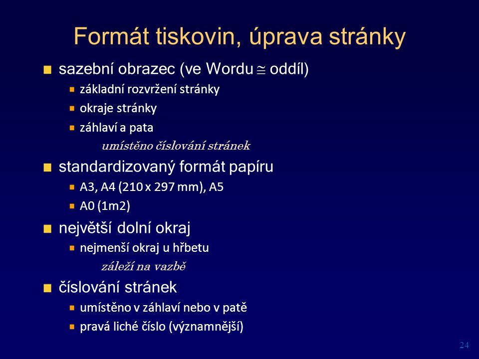 Formát tiskovin, úprava stránky sazební obrazec (ve Wordu  oddíl) základní rozvržení stránky okraje stránky záhlaví a pata umístěno číslování stránek