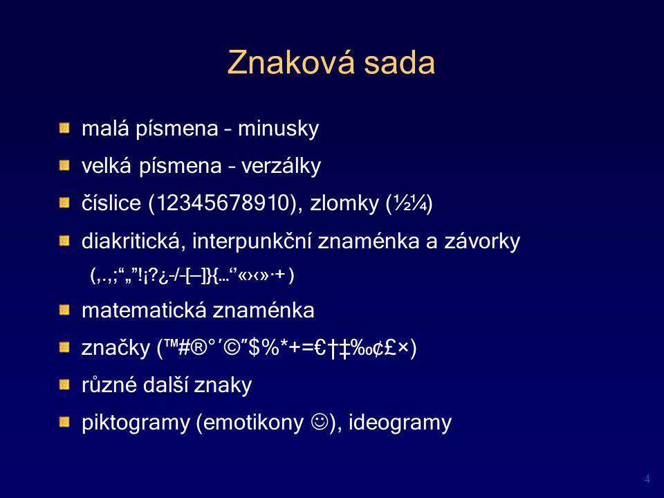 převzato z materiálu Pavel Roubal: Práce s textem – manuál ke školení úrovně Z 25