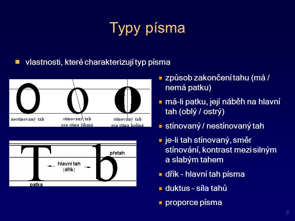 Typy písma způsob zakončení tahu (má / nemá patku) má-li patku, její n áběh na hlavní tah (oblý / ostrý) stínovaný / nestínovaný tah je-li tah stínova