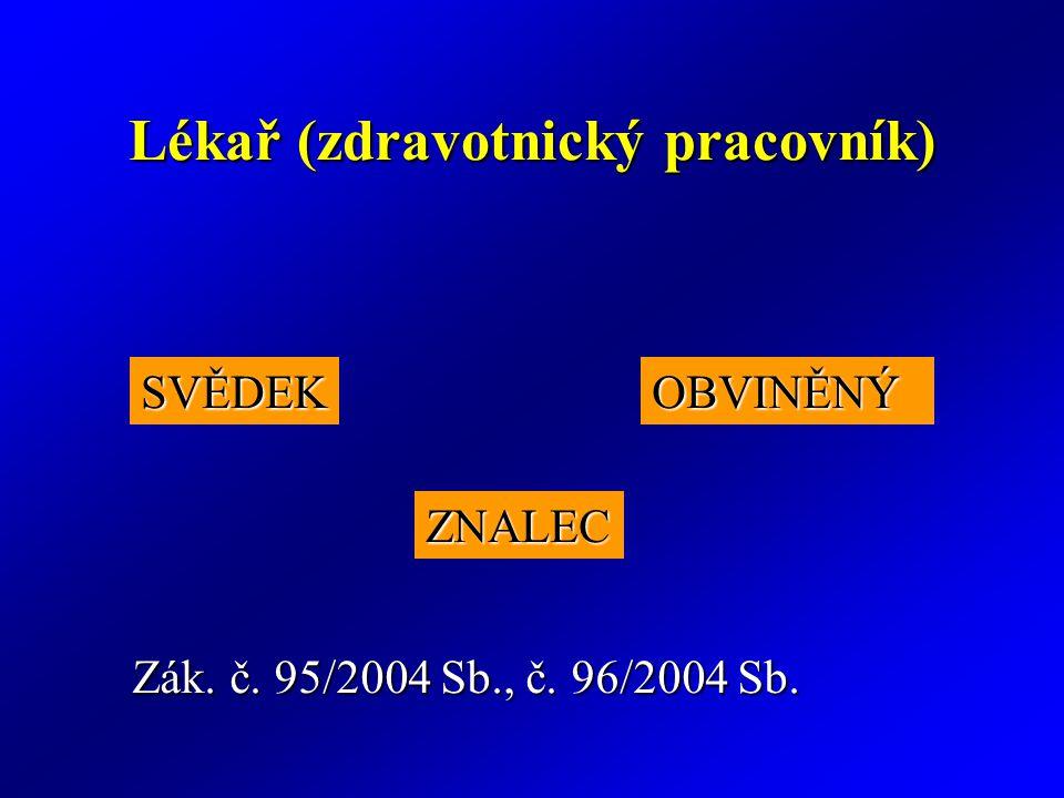 Lékař (zdravotnický pracovník) SVĚDEKOBVINĚNÝ ZNALEC Zák. č. 95/2004 Sb., č. 96/2004 Sb.