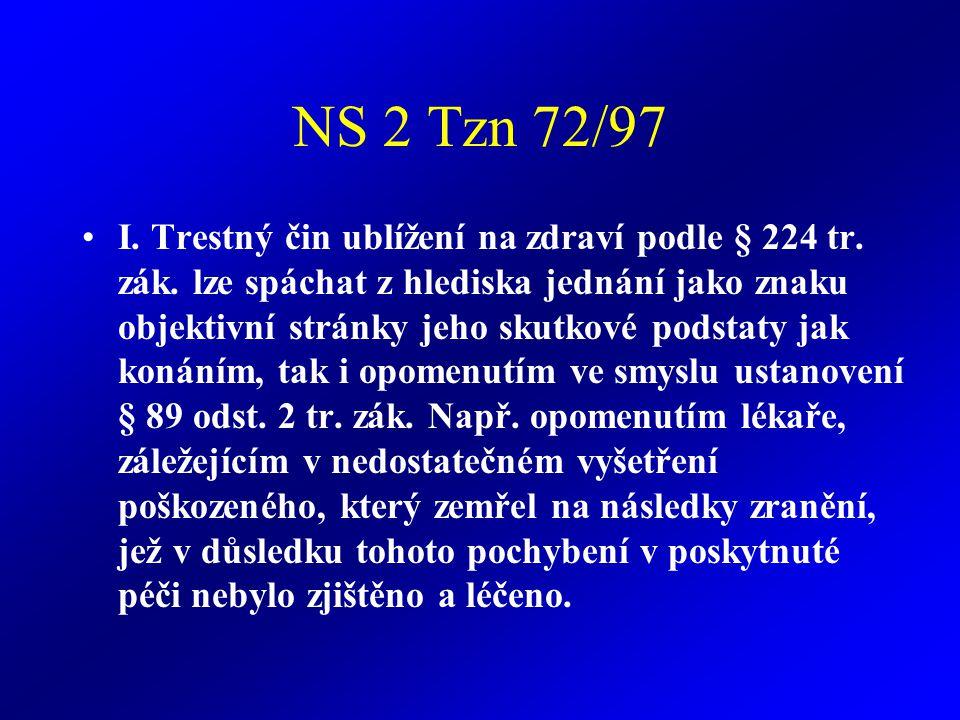 NS 2 Tzn 72/97 I.Trestný čin ublížení na zdraví podle § 224 tr.