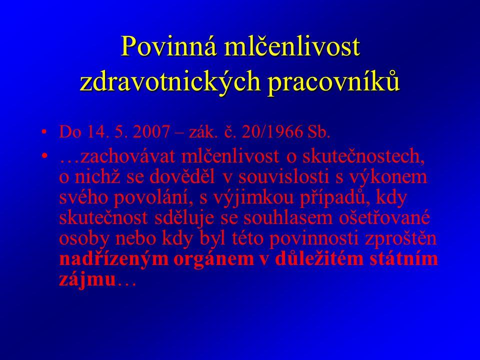 Povinná mlčenlivost zdravotnických pracovníků Do 14. 5. 2007 – zák. č. 20/1966 Sb. …zachovávat mlčenlivost o skutečnostech, o nichž se dověděl v souvi