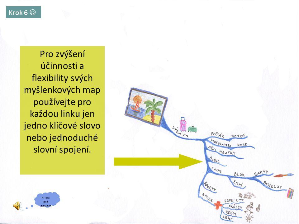 Krok 6 Pro zvýšení účinnosti a flexibility svých myšlenkových map používejte pro každou linku jen jedno klíčové slovo nebo jednoduché slovní spojení.
