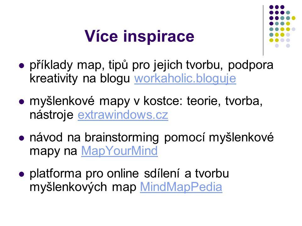 Více inspirace příklady map, tipů pro jejich tvorbu, podpora kreativity na blogu workaholic.blogujeworkaholic.bloguje myšlenkové mapy v kostce: teorie