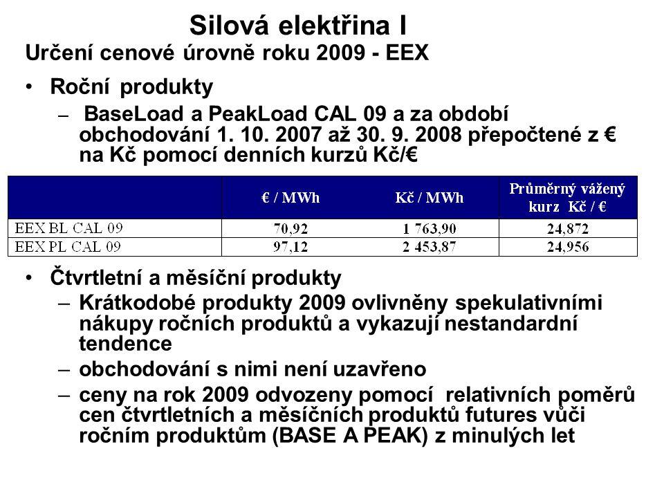 Určení cenové úrovně roku 2009 - EEX Roční produkty – BaseLoad a PeakLoad CAL 09 a za období obchodování 1. 10. 2007 až 30. 9. 2008 přepočtené z € na
