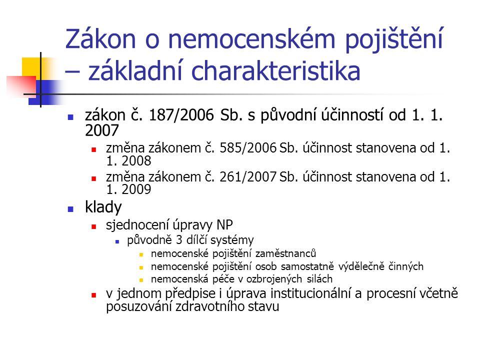 Zákon o nemocenském pojištění – základní charakteristika zákon č.
