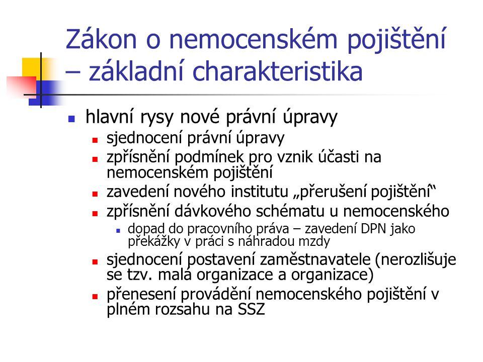 """Zákon o nemocenském pojištění – základní charakteristika hlavní rysy nové právní úpravy sjednocení právní úpravy zpřísnění podmínek pro vznik účasti na nemocenském pojištění zavedení nového institutu """"přerušení pojištění zpřísnění dávkového schématu u nemocenského dopad do pracovního práva – zavedení DPN jako překážky v práci s náhradou mzdy sjednocení postavení zaměstnavatele (nerozlišuje se tzv."""