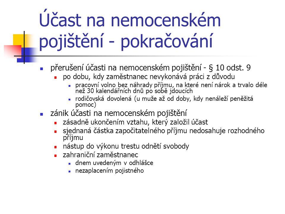 Účast na nemocenském pojištění - pokračování osoby samostatně výdělečně činné výkon samostatné výdělečné činnosti na území ČR mimo území ČR na základě oprávnění vyplývajícího z právních předpisů ČR podání přihlášky k účasti na NP na předepsaném tiskopisu při více samostatných výdělečných činnostech není souběh účasti, ale jen jedna účast odpadla vázanost účasti na NP na účast na DP zánik účasti na NP dnem uvedeným v odhlášce z pojištění dnem skončení samostatné výdělečné činnosti dnem zániku oprávnění vykonávat samostatnou výdělečnou činnosti dnem, od kterého byl pozastaven výkon sam.