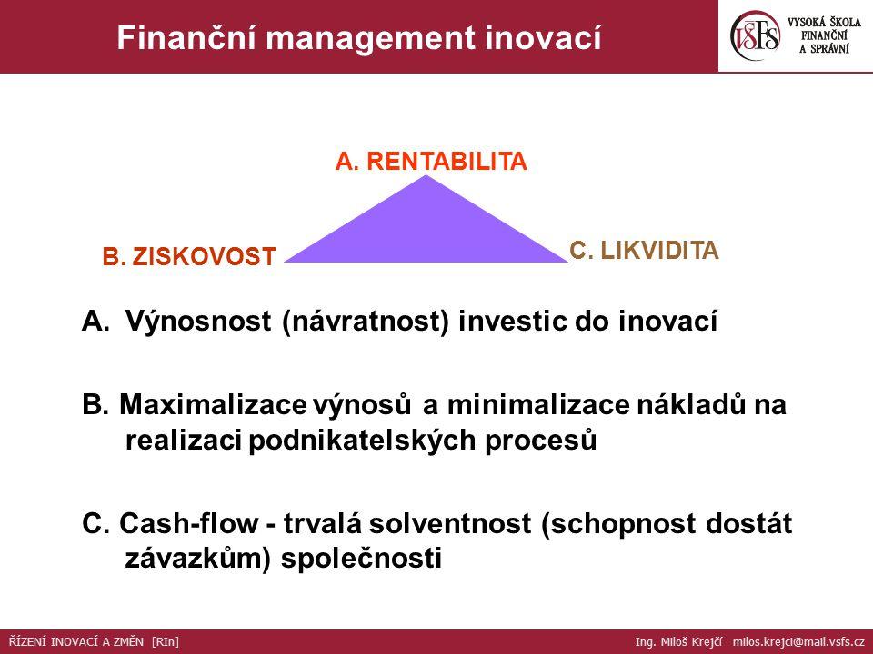 Zvyšování podnikatelské výkonnosti organizace ZISKOVOST INOVAČNÍHO PODNIKÁNÍ Zajištění co nejvyšší výnosnosti: vysoká kvalita (užitek) nízké náklady LIKVIDITA Trvale dostatečná výše volných peněžních prostředků INVESTICE Volba inovačních projektů s perspektivou nejvyšší výnosnosti aktiv Cizí kapitál Splácení závazků Výplata dividend Finanční management inovací ŘÍZENÍ INOVACÍ A ZMĚN [RIn] Ing.