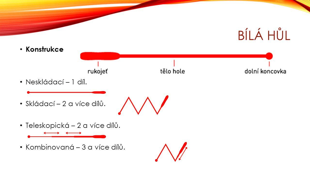 BÍLÁ HŮL Konstrukce Neskládací – 1 díl. Skládací – 2 a více dílů. Teleskopická – 2 a více dílů. Kombinovaná – 3 a více dílů.
