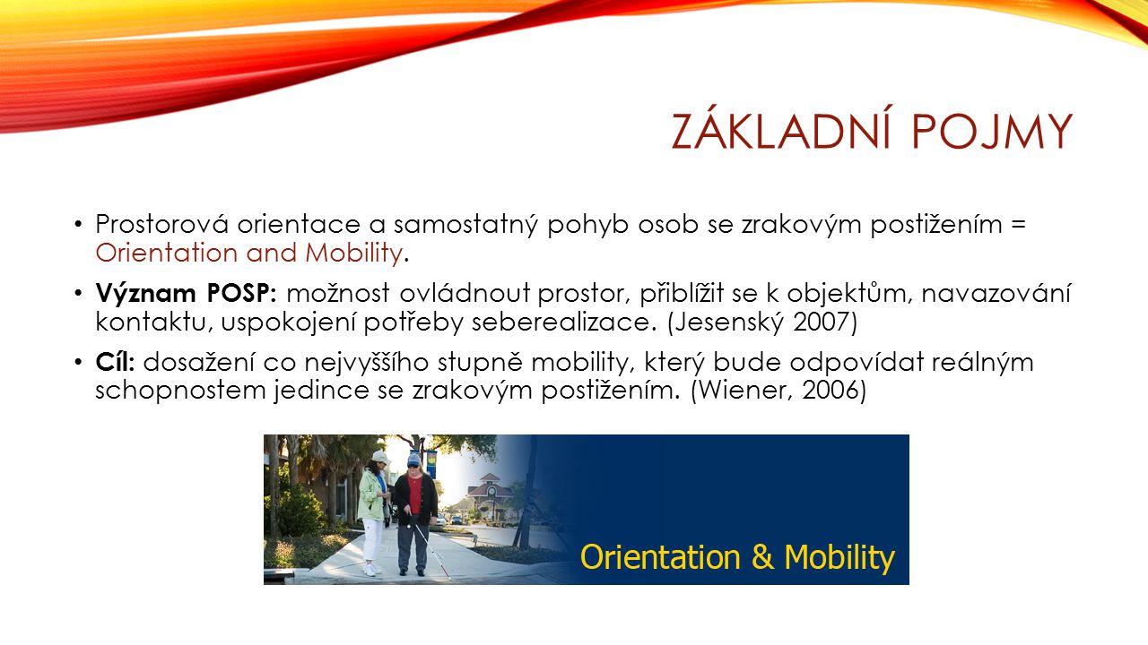ZÁKLADNÍ POJMY Prostorová orientace a samostatný pohyb osob se zrakovým postižením = Orientation and Mobility. Význam POSP: možnost ovládnout prostor,