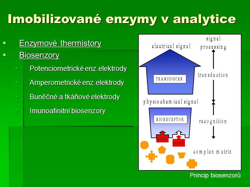  Enzymové thermistory  Biosenzory  Potenciometrické enz.elektrody  Amperometrické enz.elektrody  Buněčné a tkáňové elektrody  Imunoafinitní biosenzory Imobilizované enzymy v analytice Princip biosenzorů