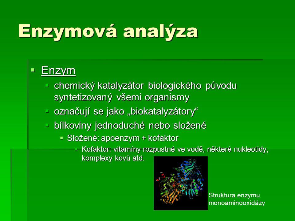  Citlivé imunochemické techniky  Enzymová imunoanalýza – EIA  Používané enzymy – kritéria pro výběr 1.Co nejnižší MW 2.Schopnost vazby na Ab nebo AG a mít vhodné funkční skupiny 3.Co nejvyšší specifická katalytická aktivita 4.Stabilita 5.Dostatečná čistota bez interferujících příměsí 6.Produkt enzymové reakce musí být snadno detekovatelný i ve velmi nízkých koncentracích 7.Musí být dostupný a levný Imunochemické metody  Citlivé imunochemické techniky  Enzymová imunoanalýza – EIA  Používané enzymy – kritéria pro výběr 1.Co nejnižší MW 2.Schopnost vazby na Ab nebo AG a mít vhodné funkční skupiny 3.Co nejvyšší specifická katalytická aktivita 4.Stabilita 5.Dostatečná čistota bez interferujících příměsí 6.Produkt enzymové reakce musí být snadno detekovatelný i ve velmi nízkých koncentracích 7.Musí být dostupný a levný Imunochemické metody