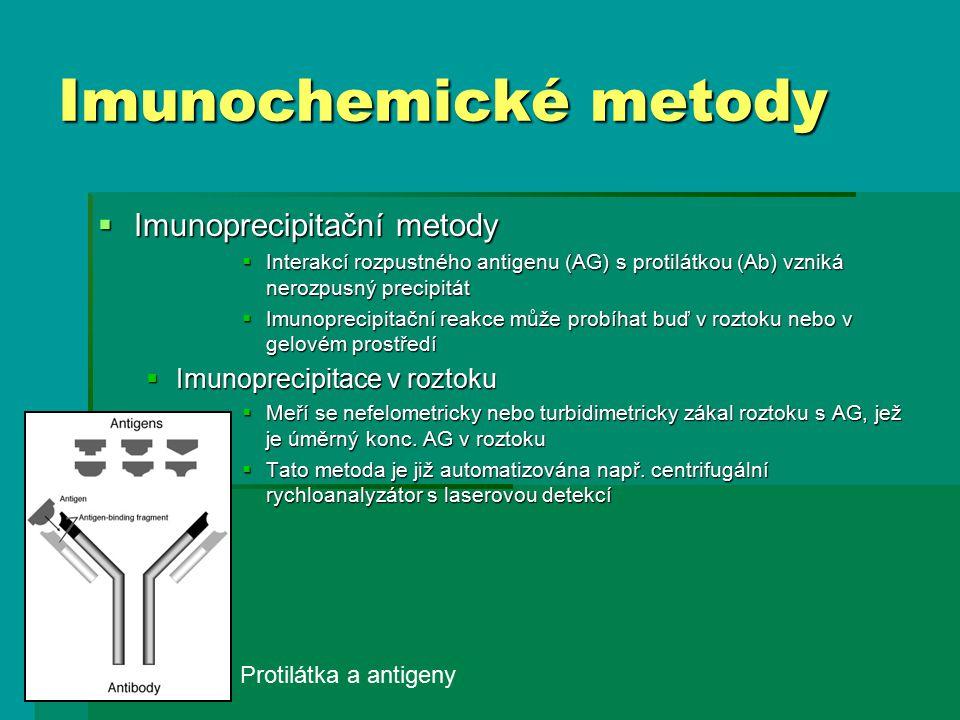 Imunochemické metody  Imunoprecipitační metody  Interakcí rozpustného antigenu (AG) s protilátkou (Ab) vzniká nerozpusný precipitát  Imunoprecipitační reakce může probíhat buď v roztoku nebo v gelovém prostředí  Imunoprecipitace v roztoku  Meří se nefelometricky nebo turbidimetricky zákal roztoku s AG, jež je úměrný konc.