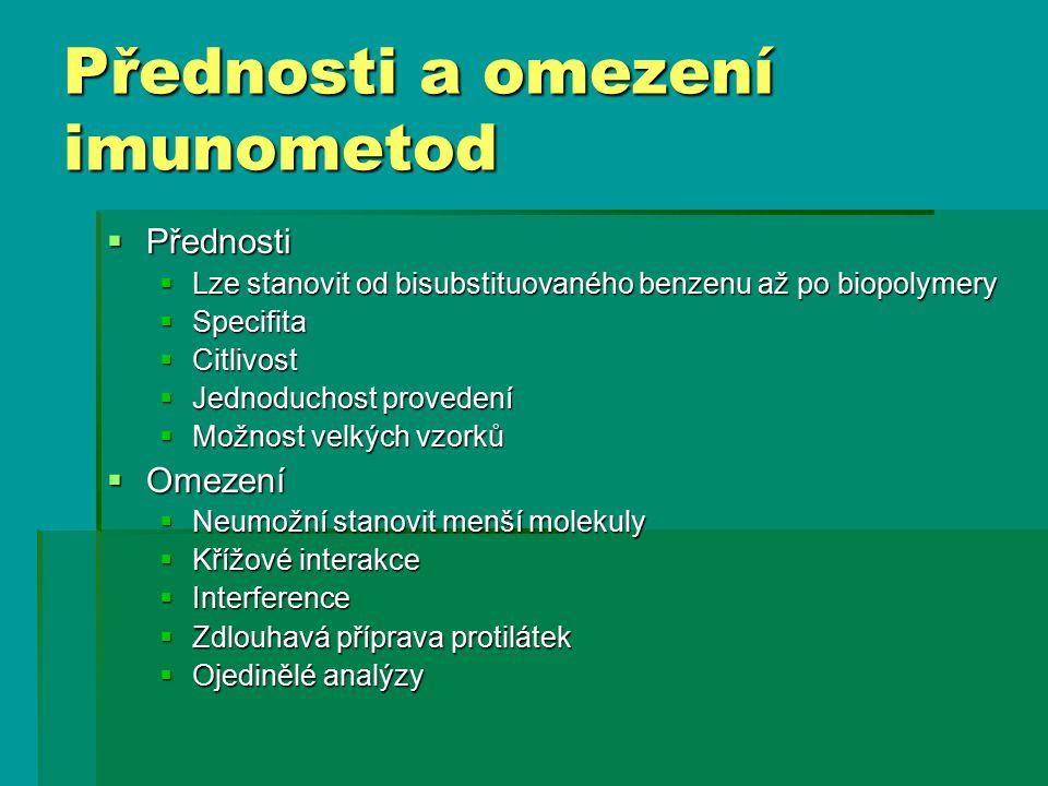 Přednosti a omezení imunometod  Přednosti  Lze stanovit od bisubstituovaného benzenu až po biopolymery  Specifita  Citlivost  Jednoduchost proved