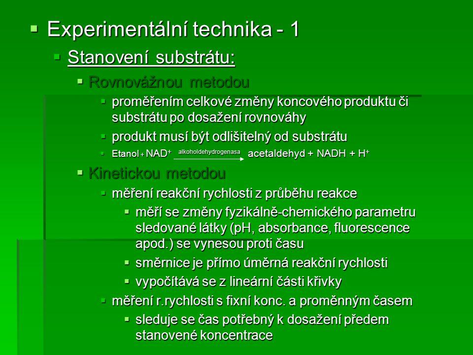  Experimentální technika - 1  Stanovení substrátu:  Rovnovážnou metodou  proměřením celkové změny koncového produktu či substrátu po dosažení rovn