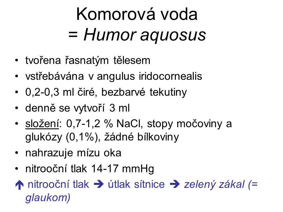 Komorová voda = Humor aquosus tvořena řasnatým tělesem vstřebávána v angulus iridocornealis 0,2-0,3 ml čiré, bezbarvé tekutiny denně se vytvoří 3 ml s