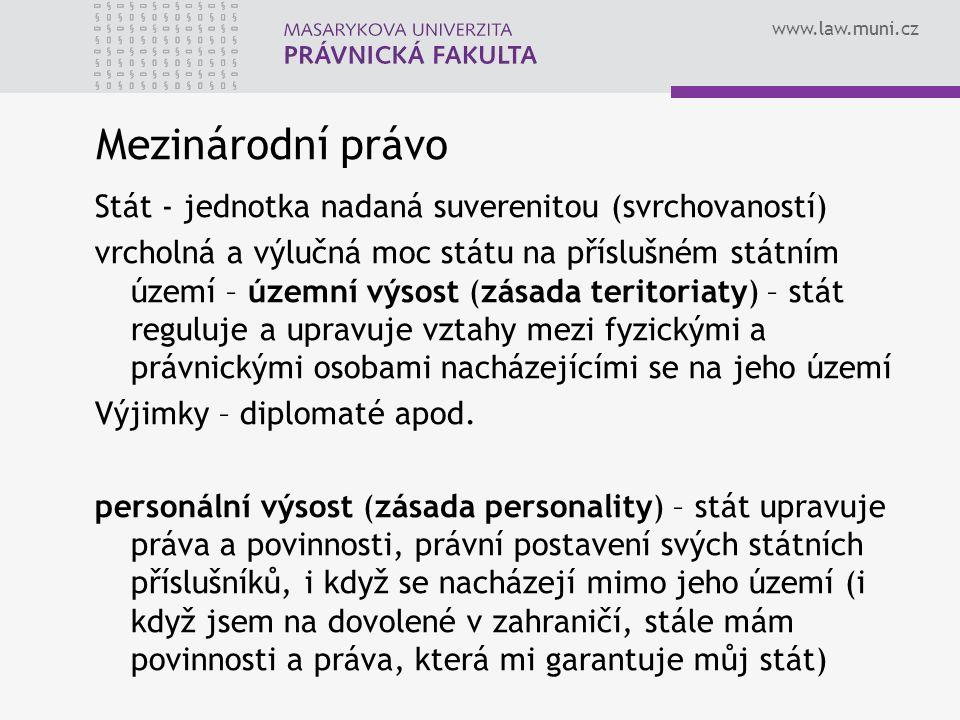 www.law.muni.cz Mezinárodní právo Stát - jednotka nadaná suverenitou (svrchovaností) vrcholná a výlučná moc státu na příslušném státním území – územní