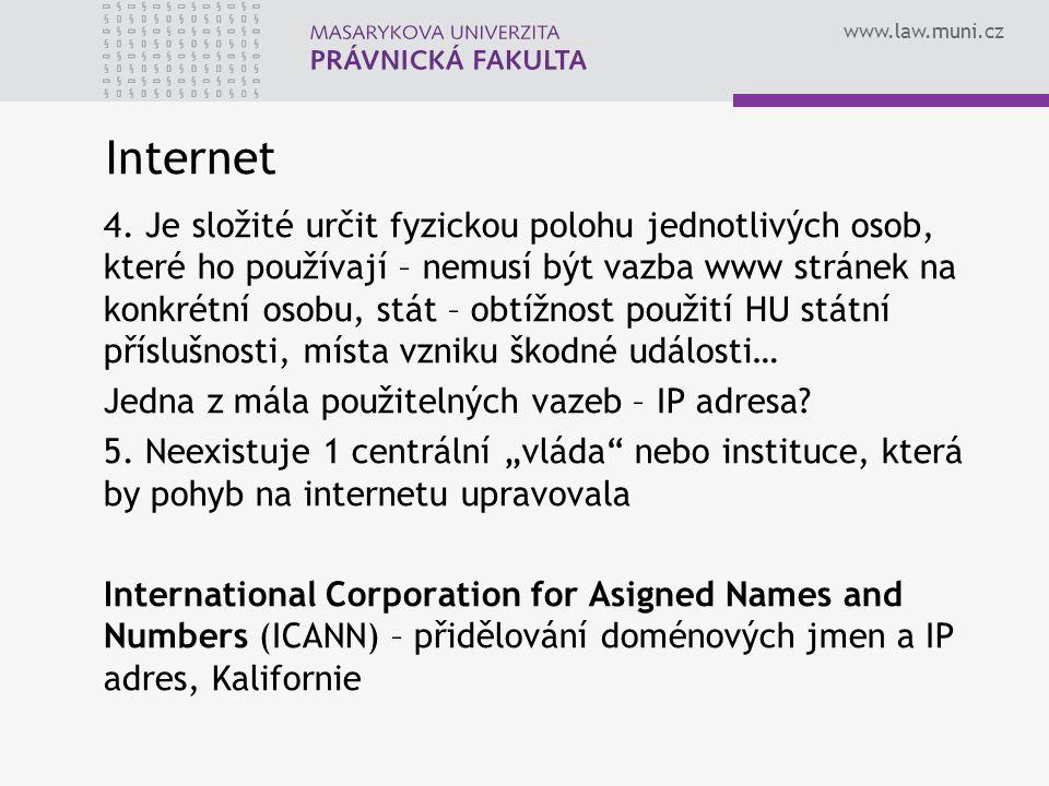 www.law.muni.cz Internet 4. Je složité určit fyzickou polohu jednotlivých osob, které ho používají – nemusí být vazba www stránek na konkrétní osobu,