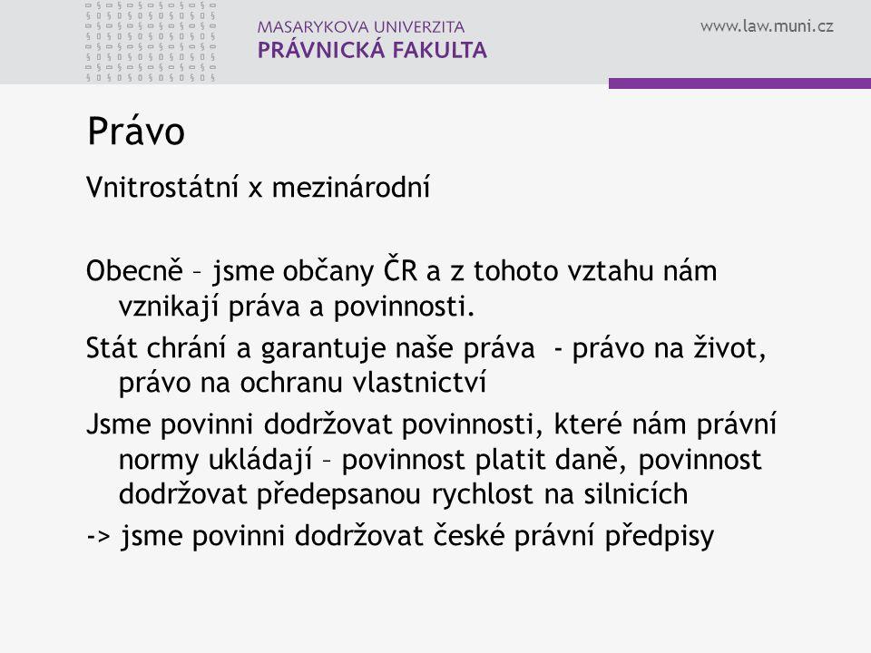 www.law.muni.cz Právo Vnitrostátní x mezinárodní Obecně – jsme občany ČR a z tohoto vztahu nám vznikají práva a povinnosti. Stát chrání a garantuje na