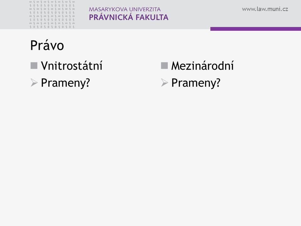 www.law.muni.cz Právo Vnitrostátní  Prameny? Mezinárodní  Prameny?
