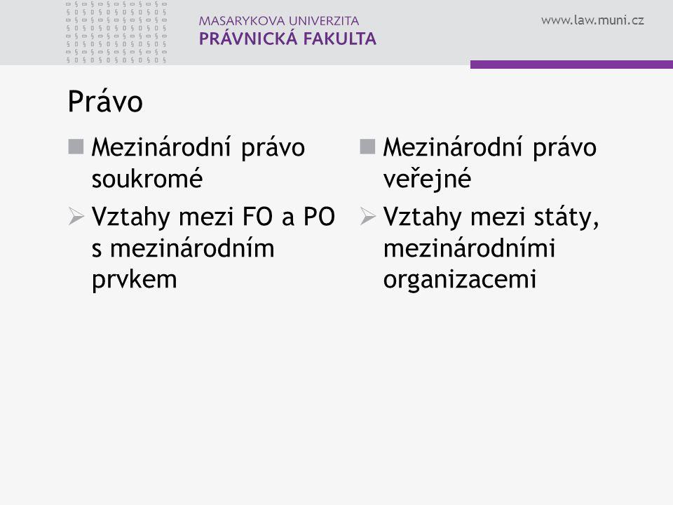www.law.muni.cz Právo Mezinárodní právo soukromé  Vztahy mezi FO a PO s mezinárodním prvkem Mezinárodní právo veřejné  Vztahy mezi státy, mezinárodn