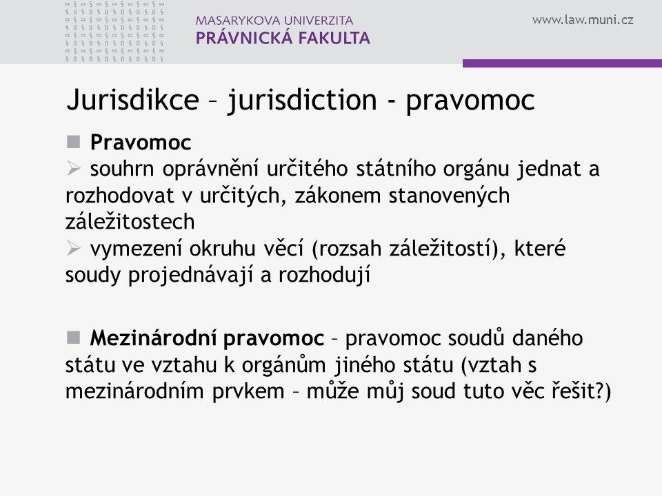 www.law.muni.cz Jurisdikce – jurisdiction - pravomoc Pravomoc  souhrn oprávnění určitého státního orgánu jednat a rozhodovat v určitých, zákonem stan